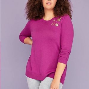 Lane Bryant Sweater with sequin stars